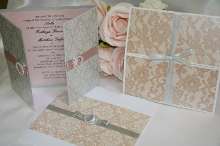 Dusty Pink And Silver Inspiration B Studio Wedding Invitations