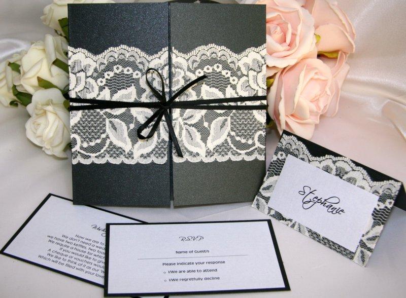 Ebony Boudoir Lace Wedding Invitations Set