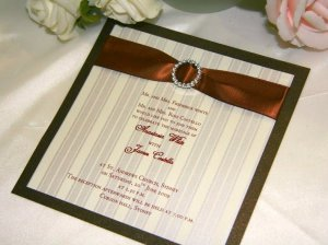 Parisian Stripes Invitation in Chocolate