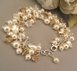 Etsy Cream Brown Pearl Crystal Wedding Bracelet