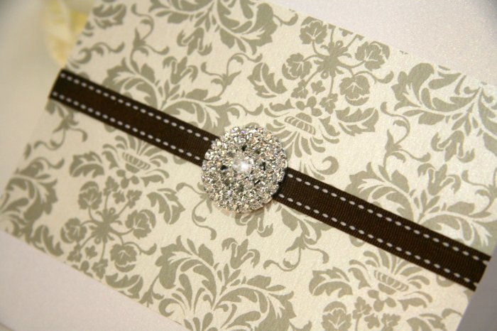 Florentine Damask Diamante Jewel Wedding Invitation Card