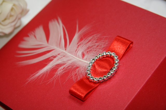 Red Flair Feather Wedding invitations- Invitation Wallet