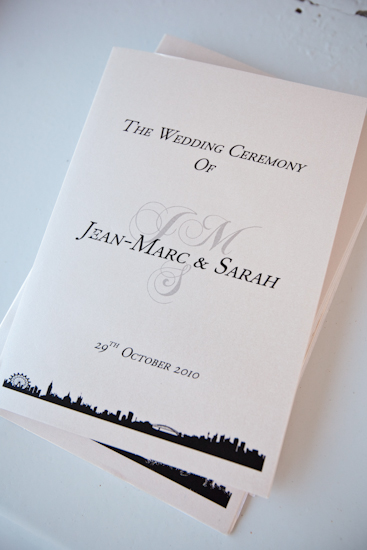 Order of Service Booklets custom made by B Studio Wedding Invitations