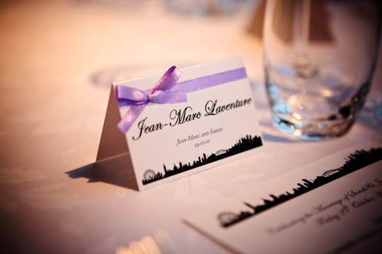 Cream and Lilac place cards custom made by B Studio Wedding Invitations