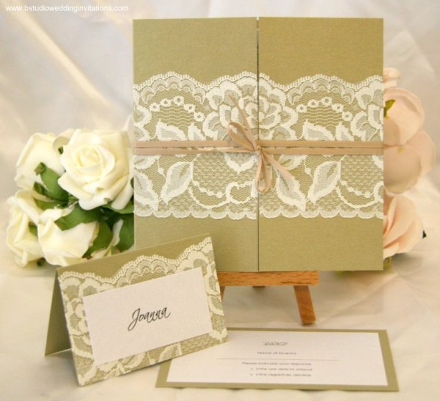 Ebony Boudoir Gold Ivory Customised Invitation Collection