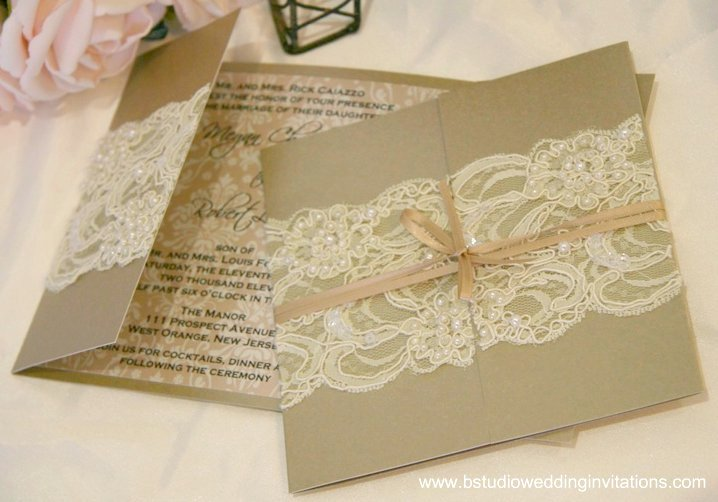 Mink and ivory lace custom design Above This beautiful invitation was