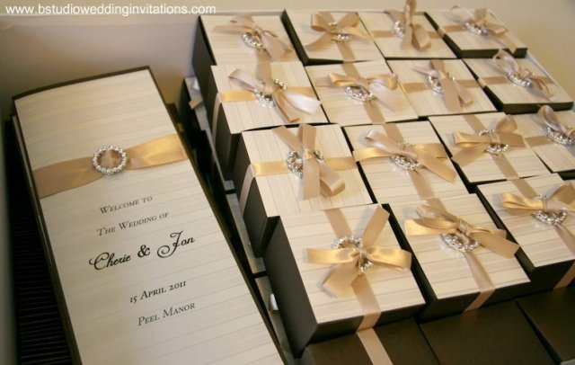 Parisian Stripes Brown & Taupe Customised design Menu and bonbonniere box