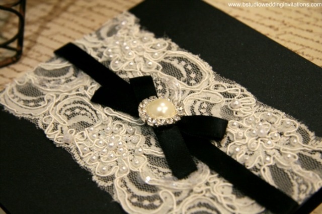 Vintage Glamour Invitation Customised- Black Card & Black Ribbon- B Studio