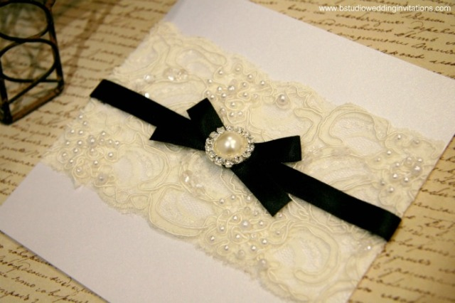 Vintage Glamour Invitation Customised- White Card & Black Ribbon