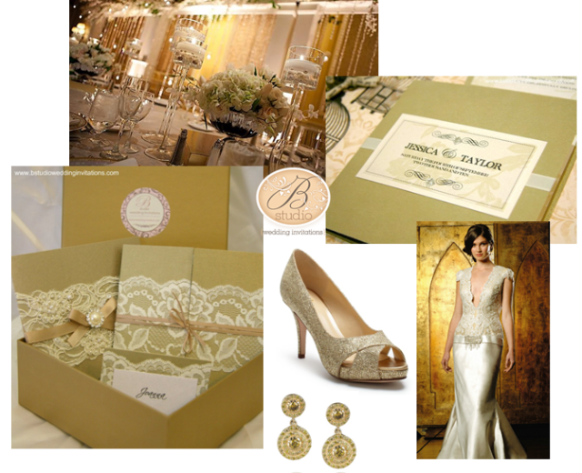 Gold Wedding Theme Inspiration Board by B Studio Wedding Invitations