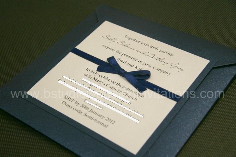 Navy Blue And White Wedding Invitations: B Studio Wedding Invitations