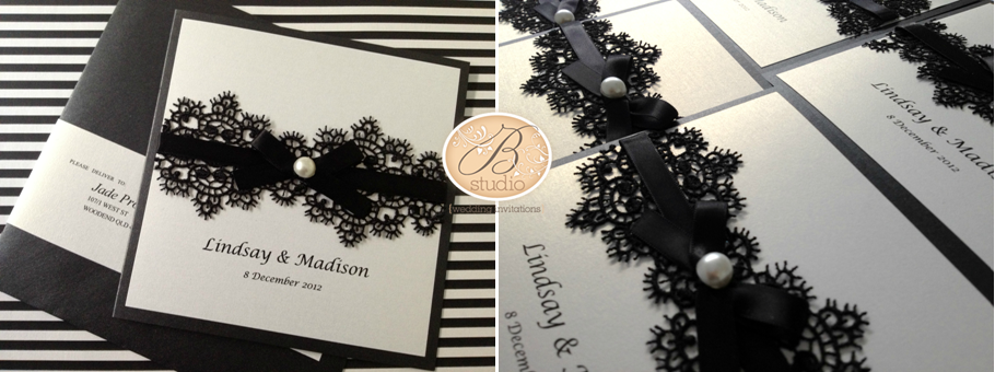 Love In Venice Stationery For Madison And Lindsay. 2. Jessica U0026 Drewu0027s  Custom Designed Invitations Featuring Black And White Stripes ...