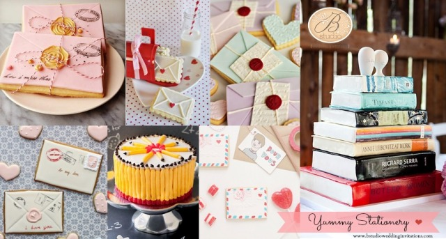 Yummy stationery cookies and cakes- B Studio Wedding Invitations Board