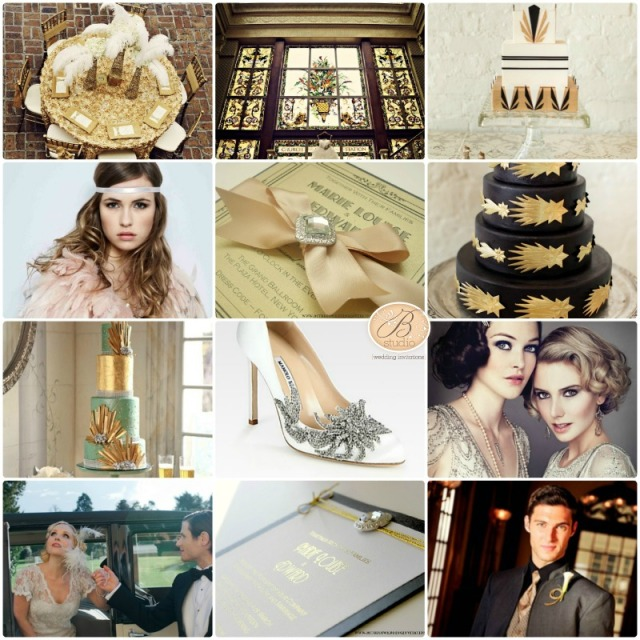 1920s wedding glam inspiration board- B Studio Wedding Invitations
