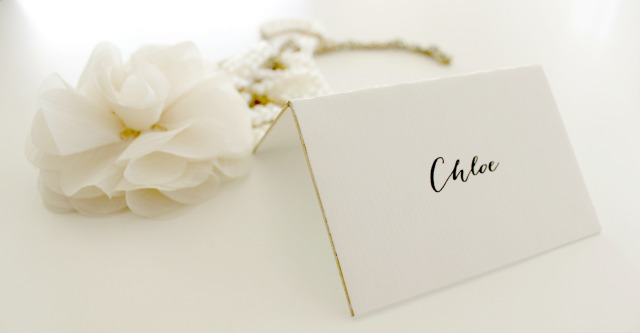 Metallic Gold Leafing Place cards- B Studio Wedding Invitations