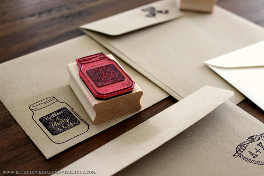 to your stationery suite is to stamp them up with custom rubber stamps