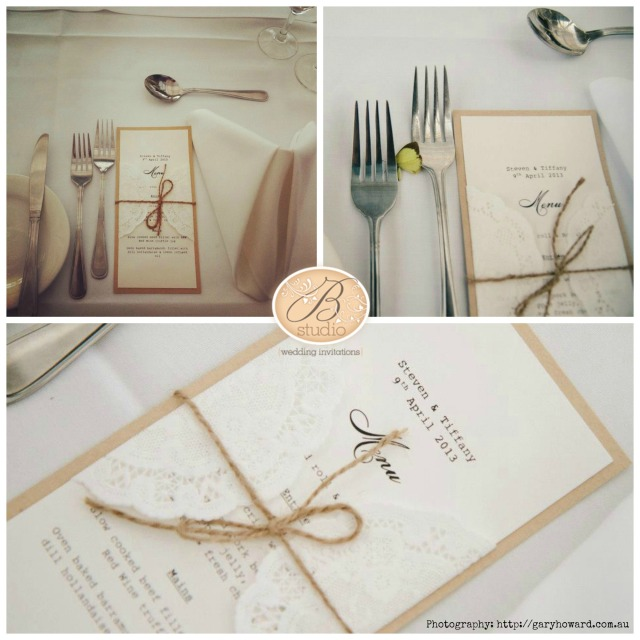 Tiffany Bell-rustic menus by B Studio
