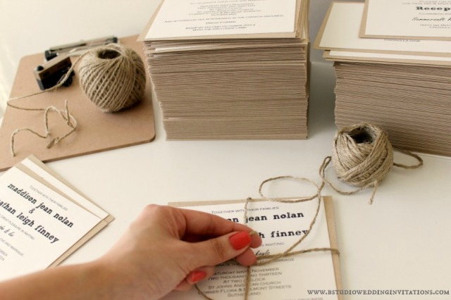"Above: Wrapping twine around our ""Tying the Knot"" invitations"