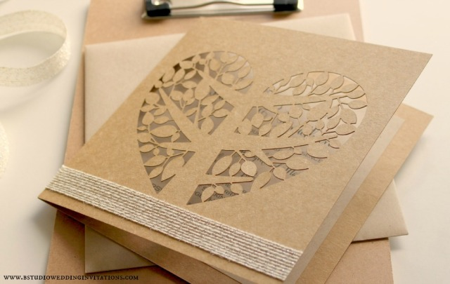 Heart tree laser-cut invitation card- on clipboard