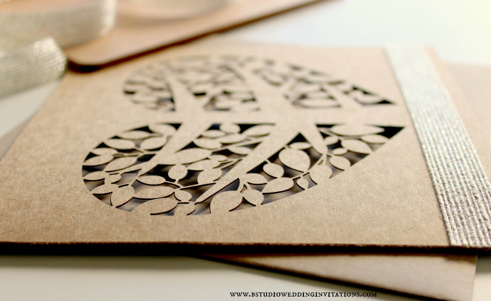 Heart Tree Laser Cut Invitation Card  Angle View