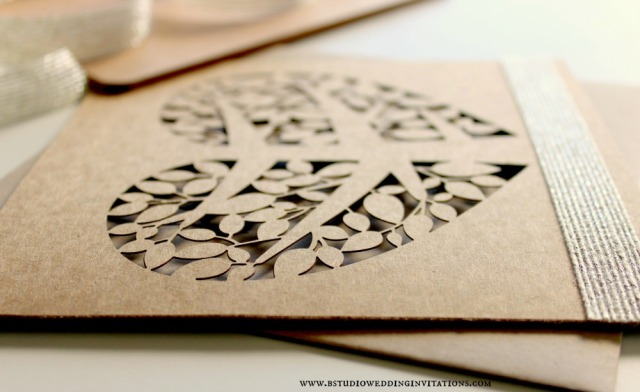Heart tree laser-cut invitation card- angle view