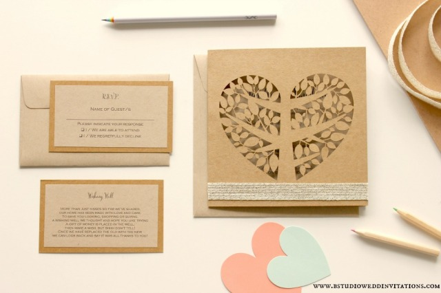 Heart tree laser-cut invitation suite