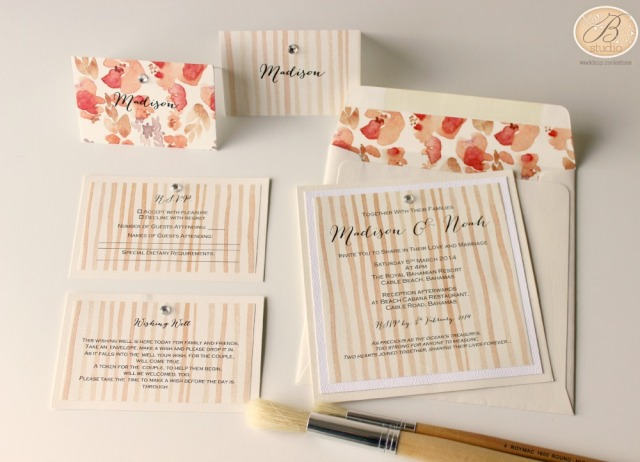 Coralee Watercolor invitations