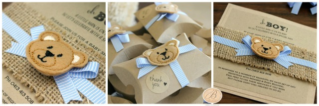 Teddy bear baby shower stationery by B Studio