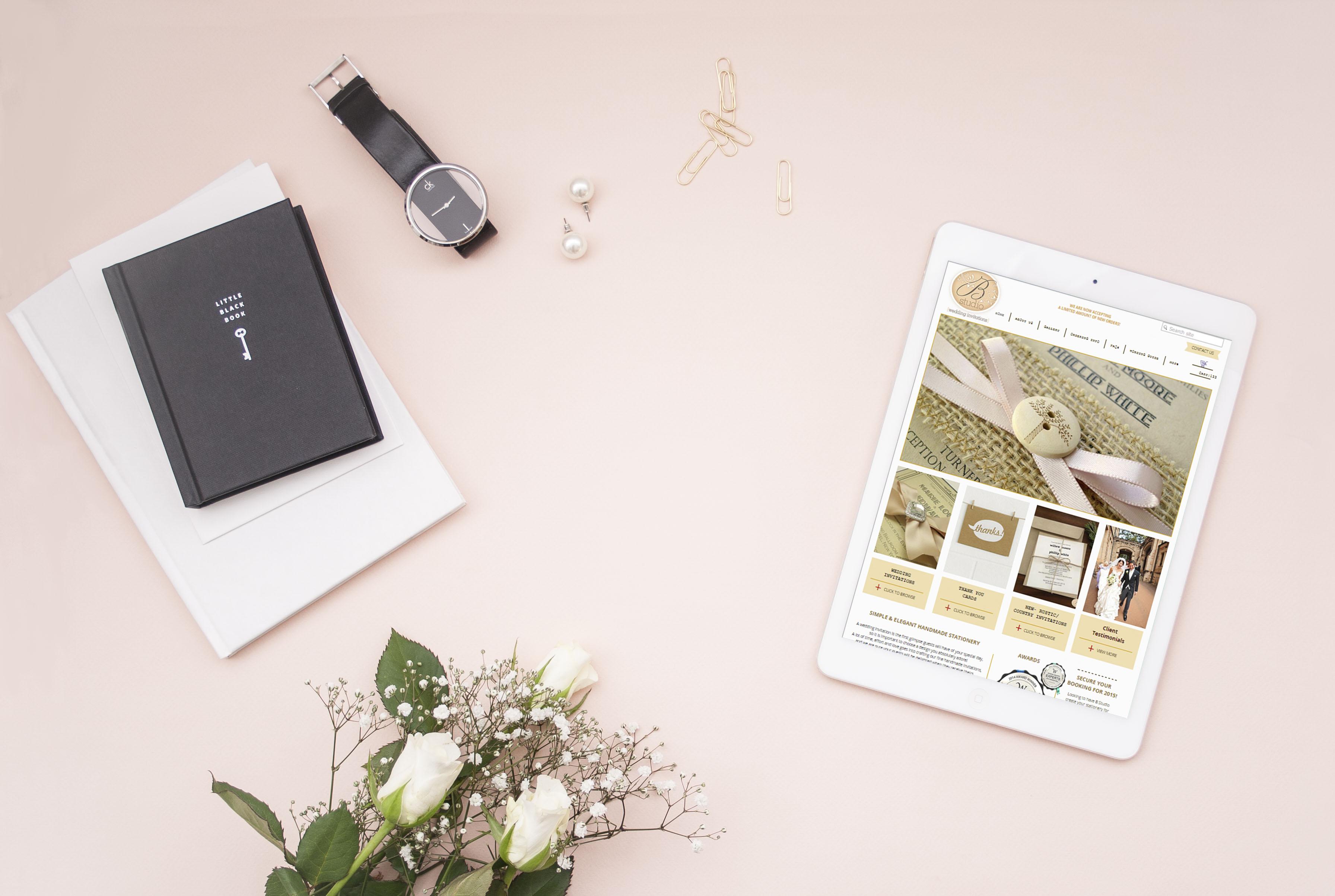 B Studio Wedding Invitation  Website On Ipad