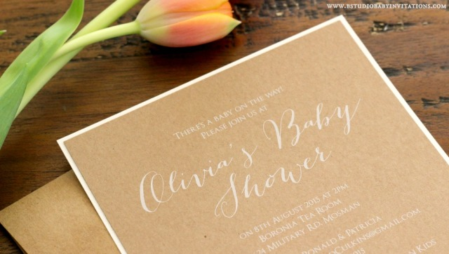 White ink on rustic baby shower invitation