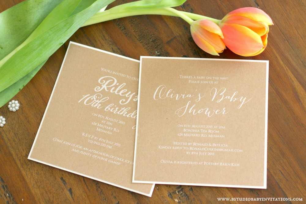 white ink on rustic baby shower and birthday sample invitations
